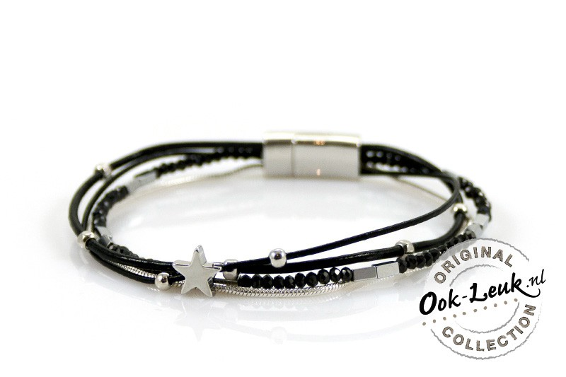 Sierlijke zwarte XL armband met kraaltjes